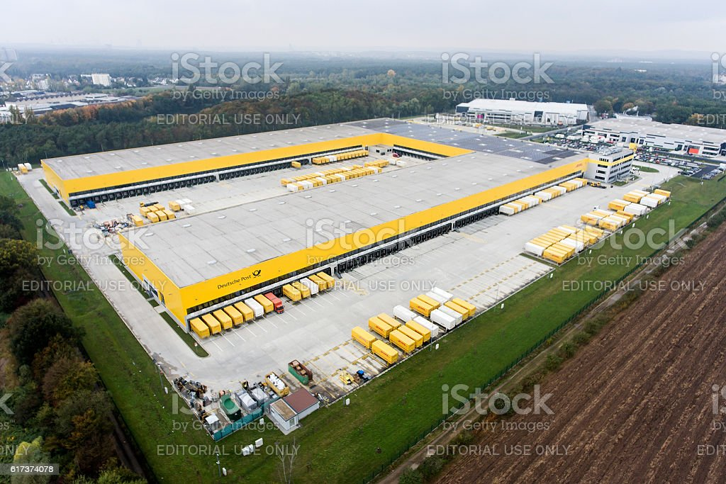 Aerial view of DHL/Deutsche Post distribution hub Obertshausen stock photo