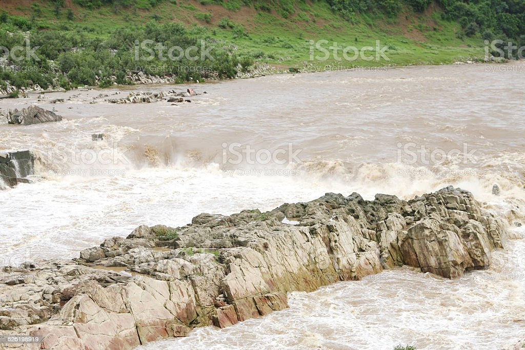 Aerial view of Dhuandhar fall & marble rock exposure, Jabalpur stock photo