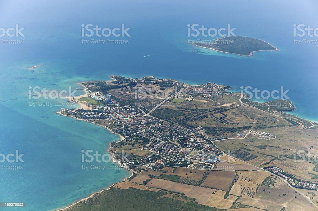 aerial view of didim akbuk turkey stock photo
