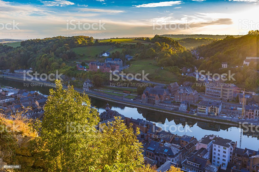 Aerial view of Dinant, Belgium and river Meuse stock photo