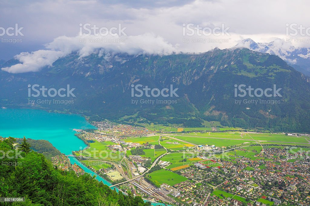 Aerial view of district of Interlaken. stock photo