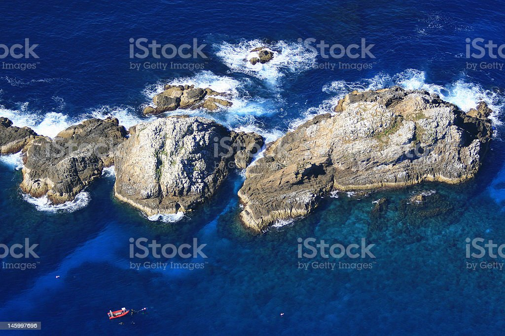 Aerial view of dive site stock photo
