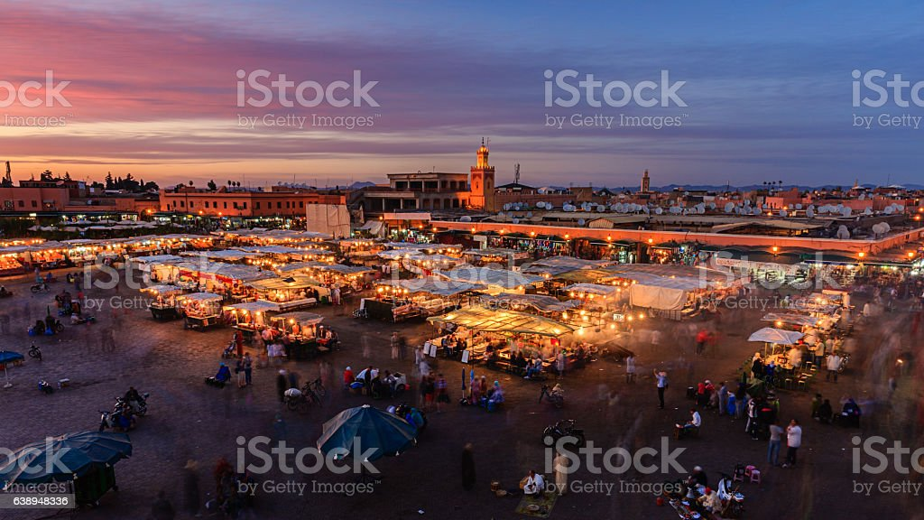 Aerial view of  Djemaa el Fna square, Marrakech, Morocco. stock photo