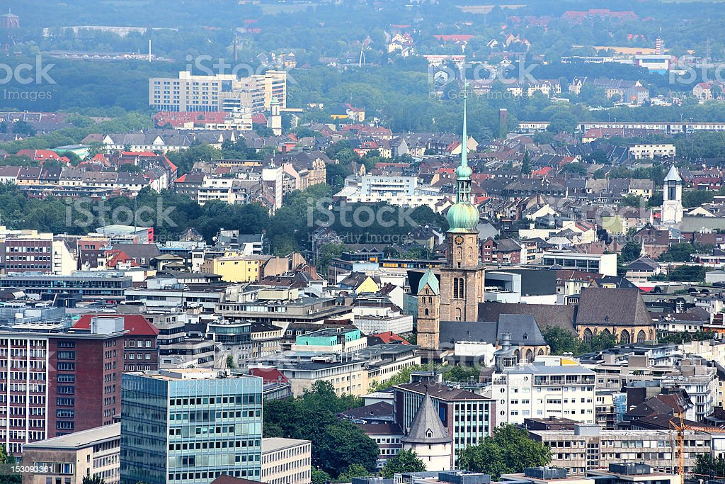 Aerial view of Dortmund, Ruhrgebiet, Germany stock photo