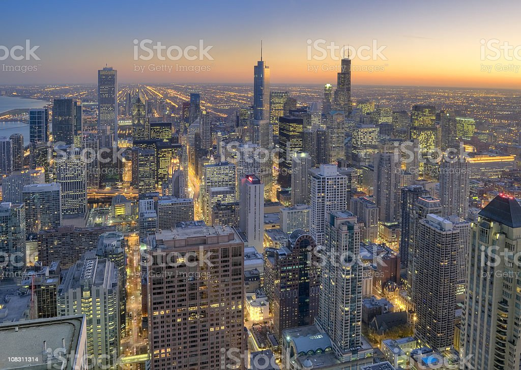 Aerial View of Downtown Chicago at Sunset stock photo