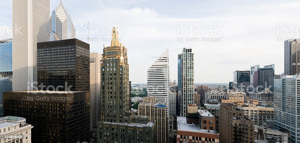 Aerial view of downtown Chicago buildings on a cloudy day royalty-free stock photo