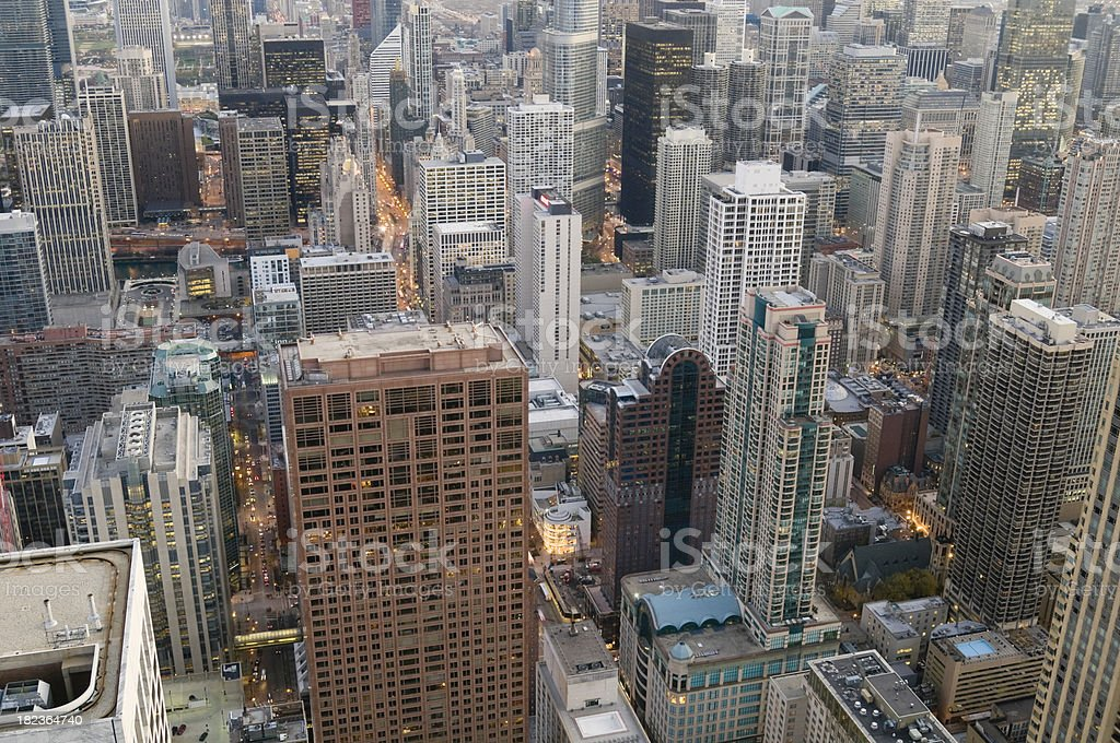 Aerial View of Downtown Chicago stock photo