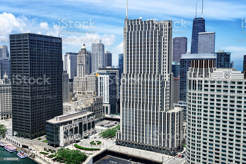 Aerial view of downtown Chicago skyscrapers in Streeterville stock photo