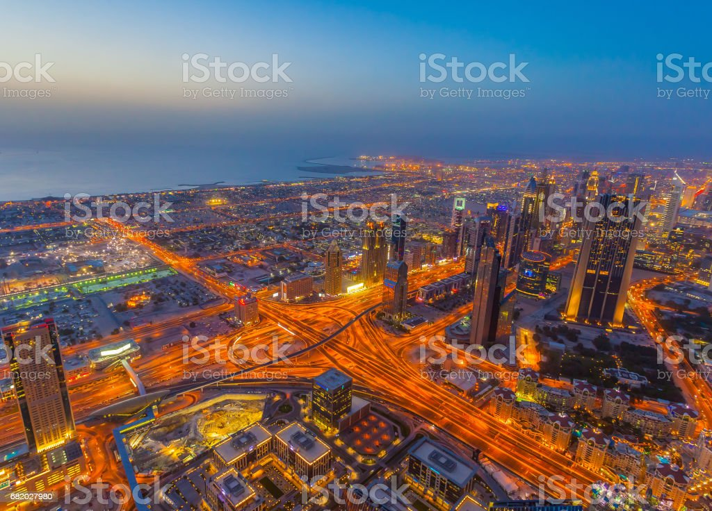 Aerial view of Downtown Dubai at the sunset stock photo