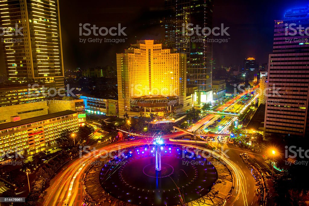 Aerial view of downtown Jakarta, Indonesia at night stock photo