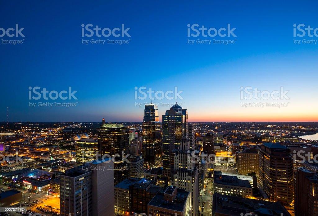 Aerial View of Downtown Kansas City at Twilight stock photo
