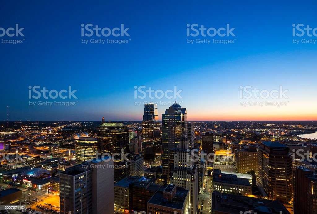 Aerial View of Downtown Kansas City at Twilight stock photo