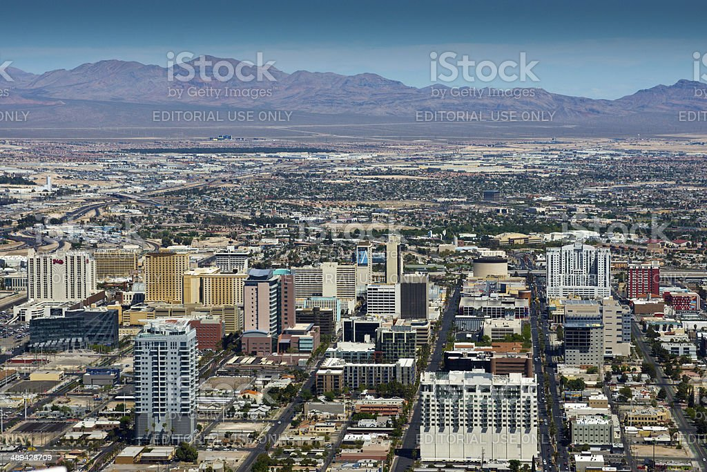 Aerial view of downtown Las Vegas stock photo