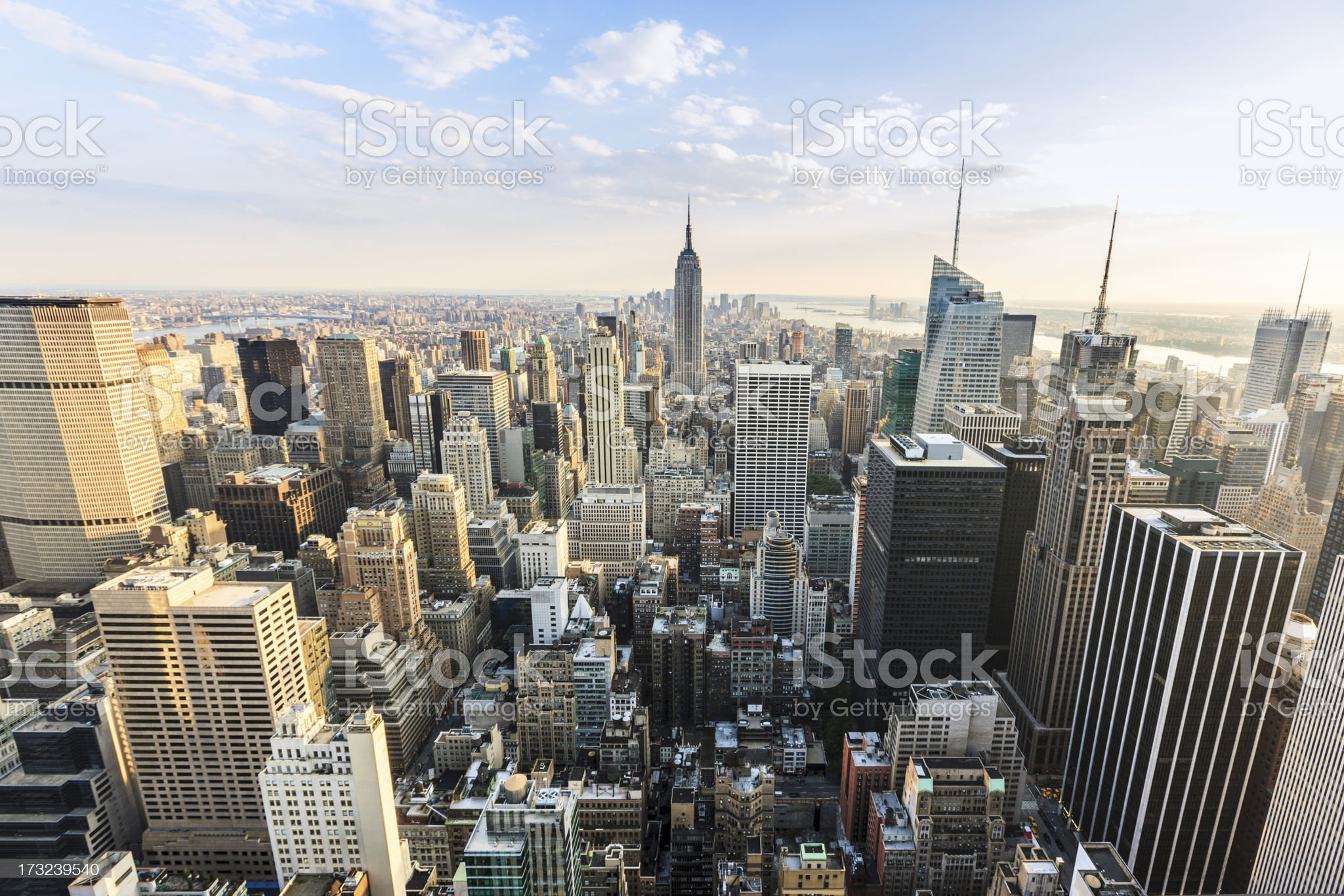 Aerial View of Downtown Manhattan New York City royalty-free stock photo