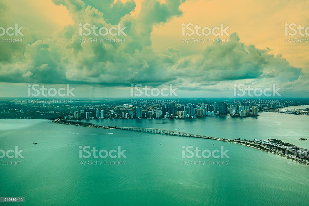 Aerial view of Downtown Miami stock photo