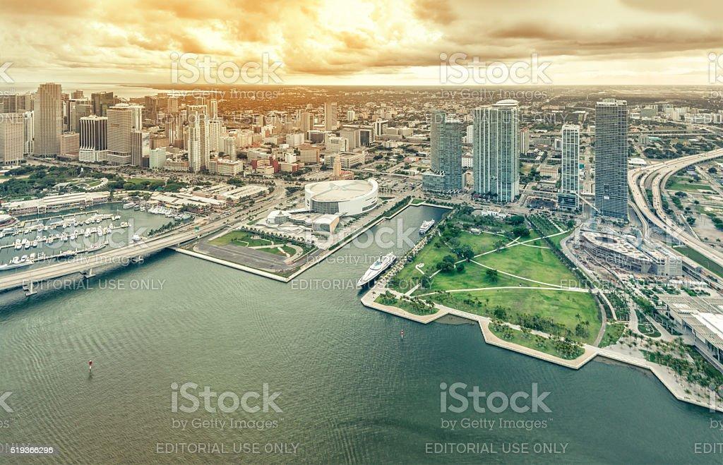 Aerial view of Downtown Miami stock photo