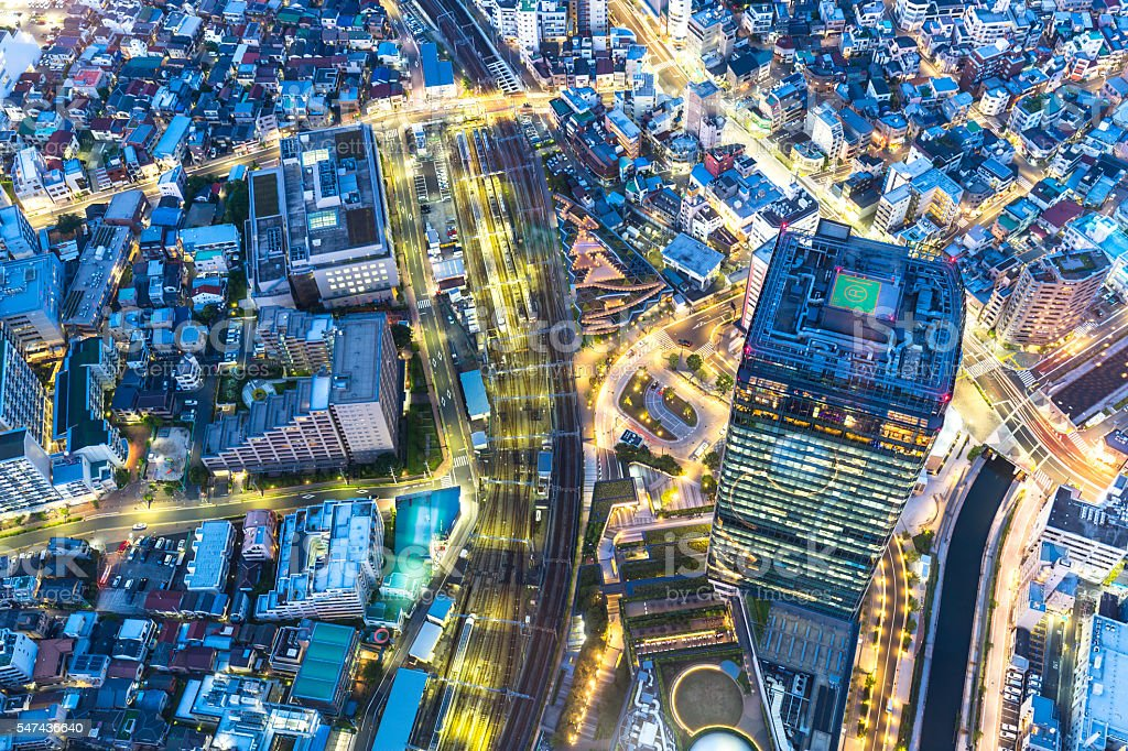 aerial view of downtown near railway station of tokyo stock photo