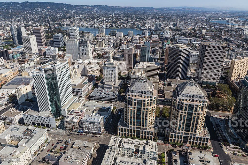 Aerial View of Downtown Oakland California stock photo
