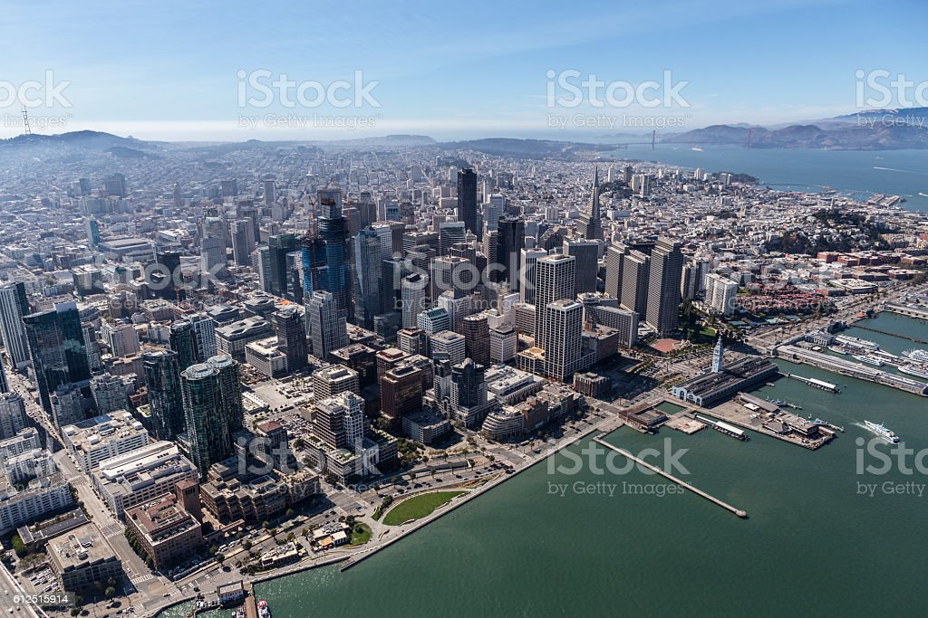 Aerial View of Downtown San Francisco Buildings and Waterfront stock photo