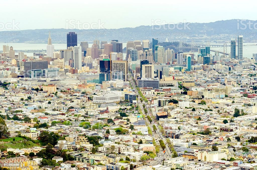 Aerial view of Downtown San Francisco stock photo