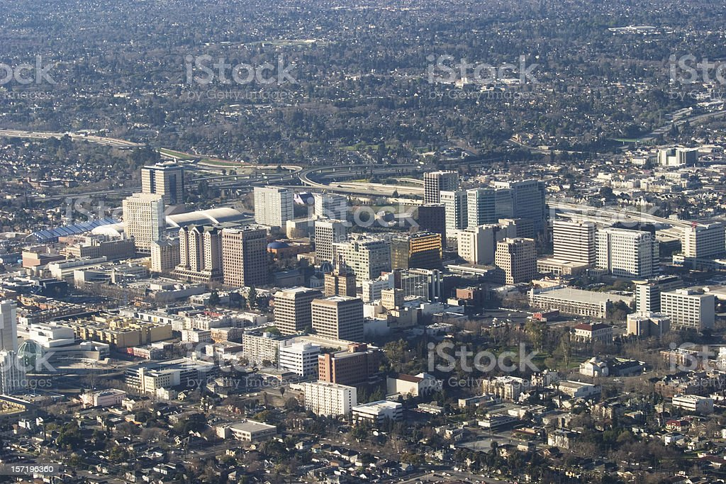 Aerial view of downtown San Jose stock photo