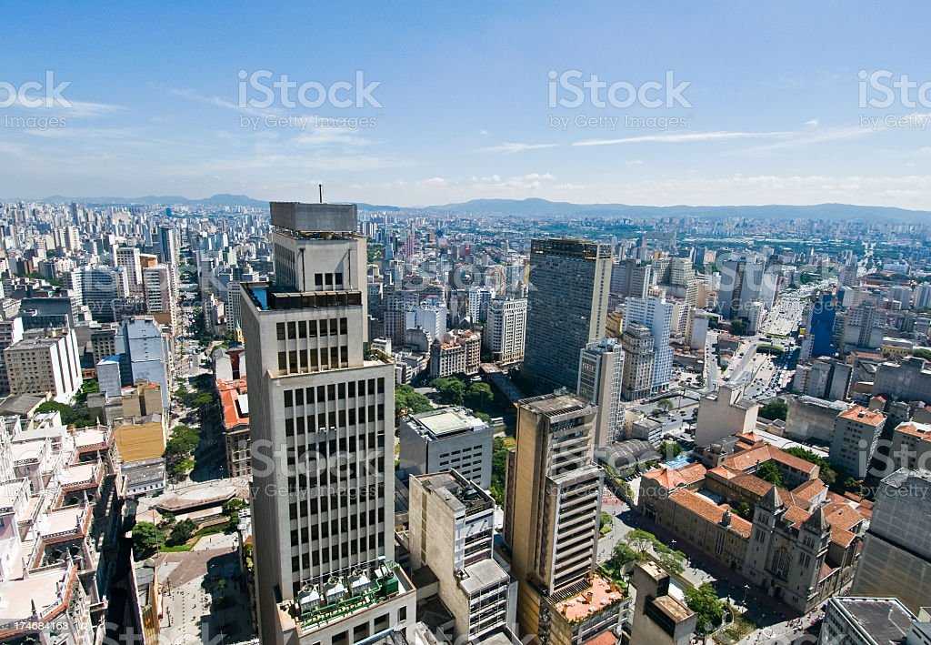 Aerial view of downtown Sao Paulo stock photo