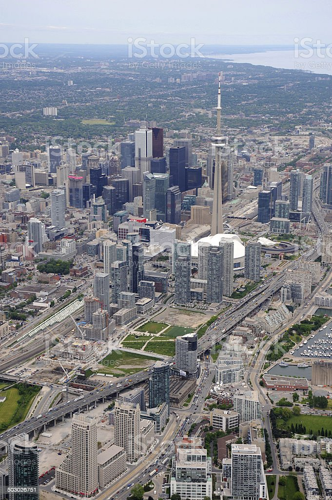 Aerial view of downtown Toronto stock photo