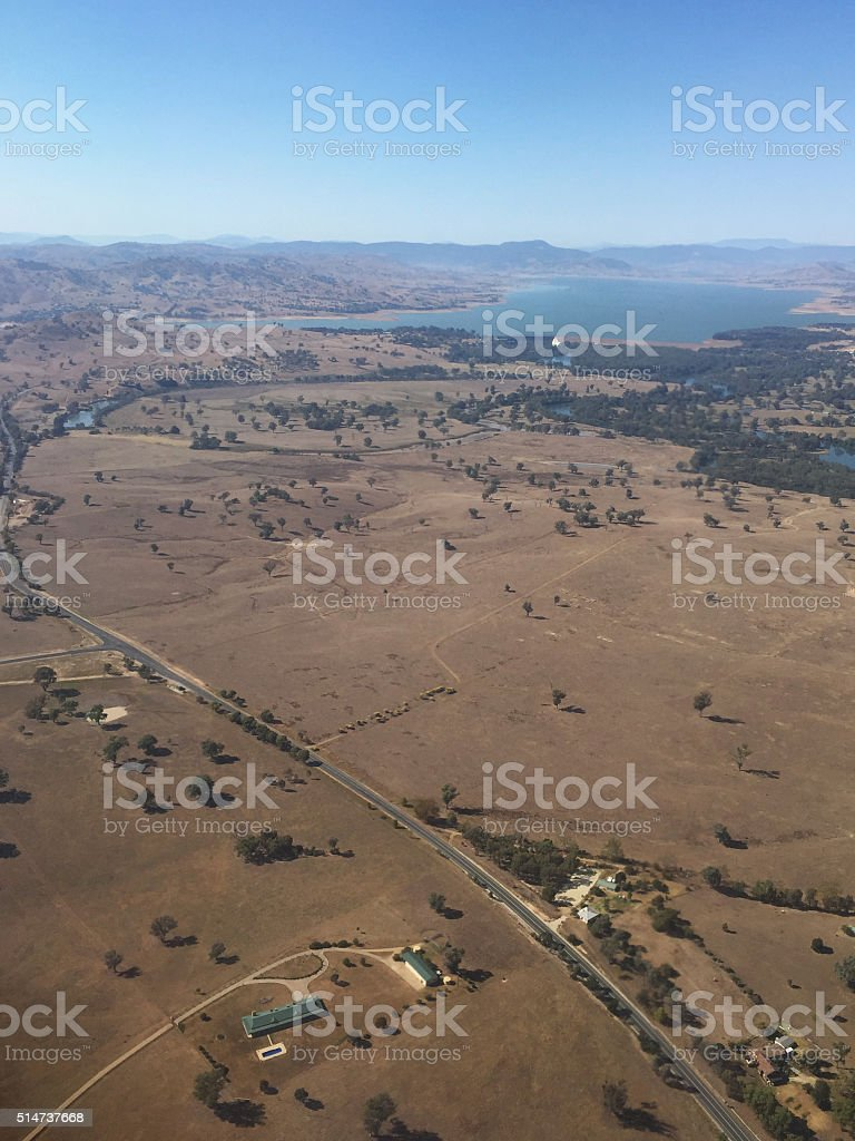 Aerial View of Drought Depleted Lake Hume, Australia stock photo