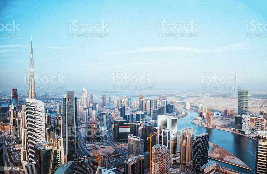 Aerial view of Dubai city sky line stock photo