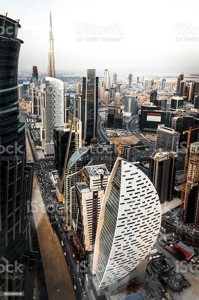 Aerial view of Dubai city sky line stock photo