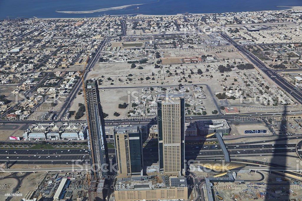 Aerial view of Dubai Downtown district royalty-free stock photo