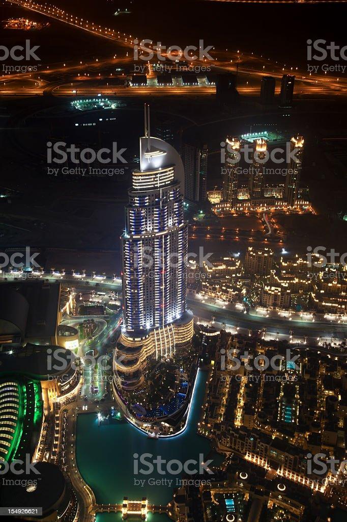 Aerial view of Dubai skyline by night royalty-free stock photo
