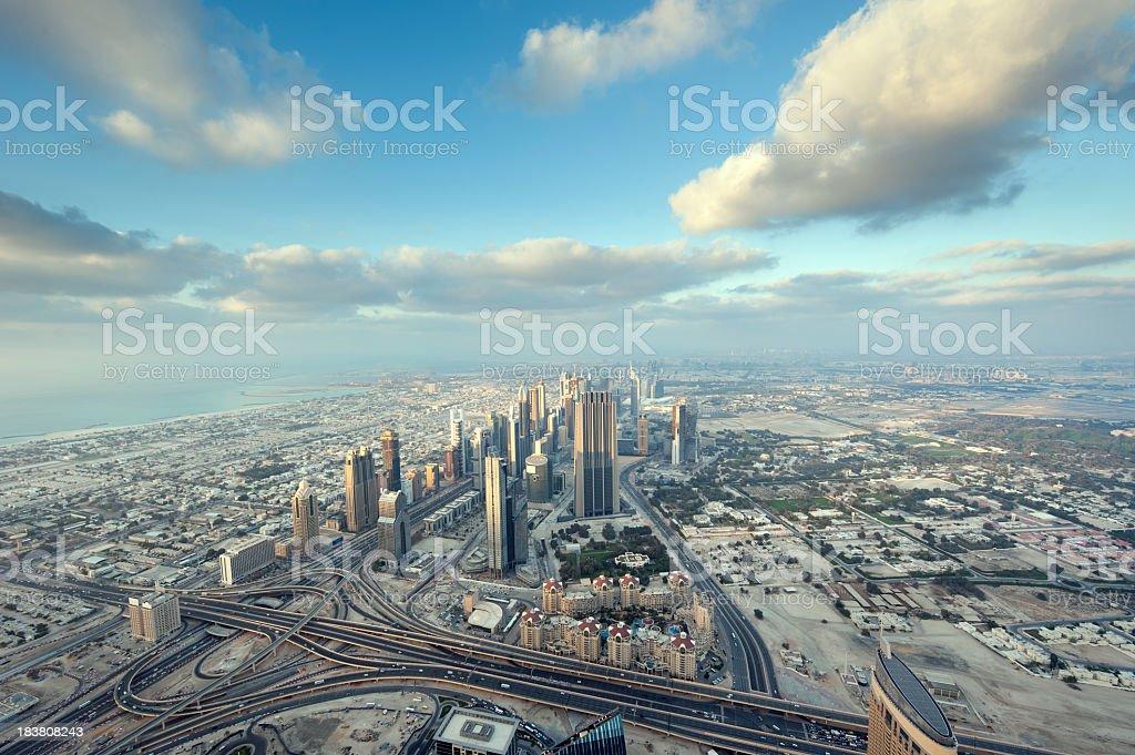 Aerial view of Dubai skyscrapers royalty-free stock photo