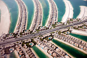 Aerial view of Dubai with coastlines