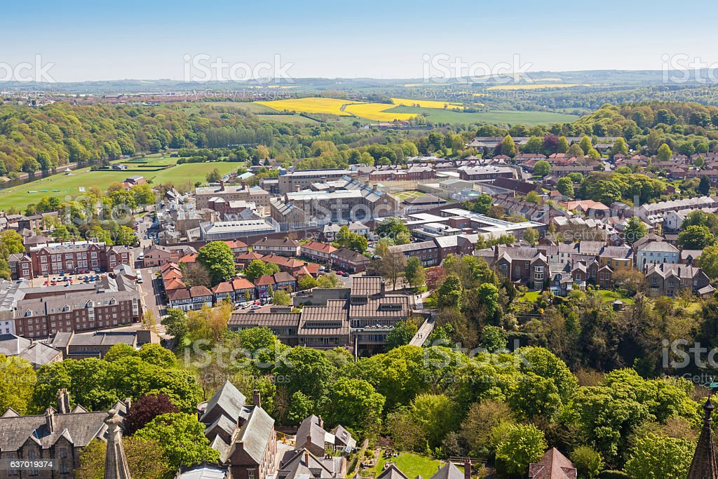 Aerial View of Durham stock photo