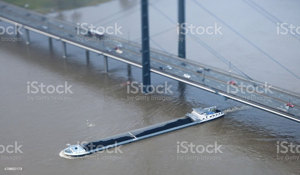 Aerial view of Dusseldorf  and rhine stock photo