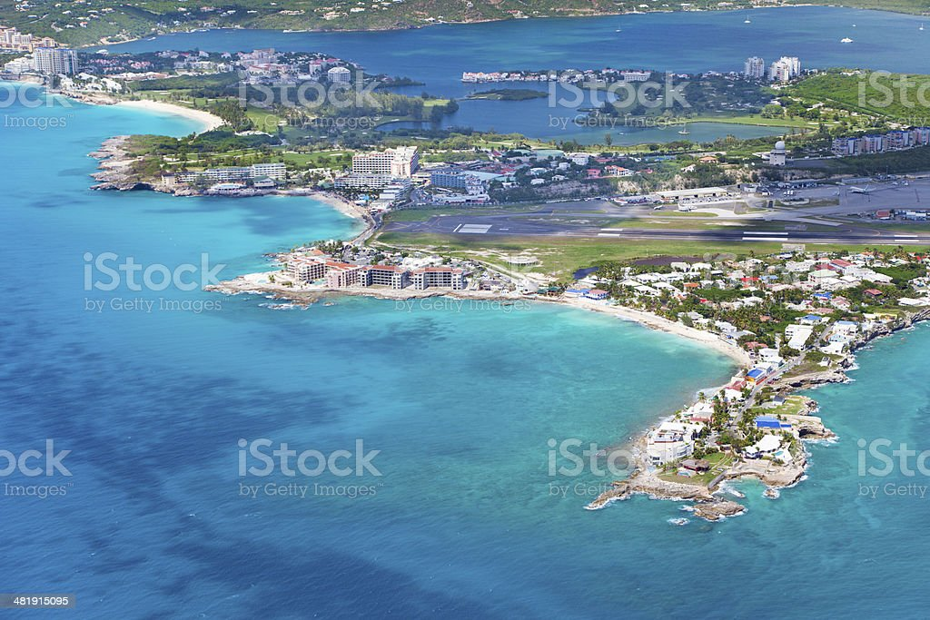 aerial view of Dutch St.Martin, French West Indies, Caribbean stock photo