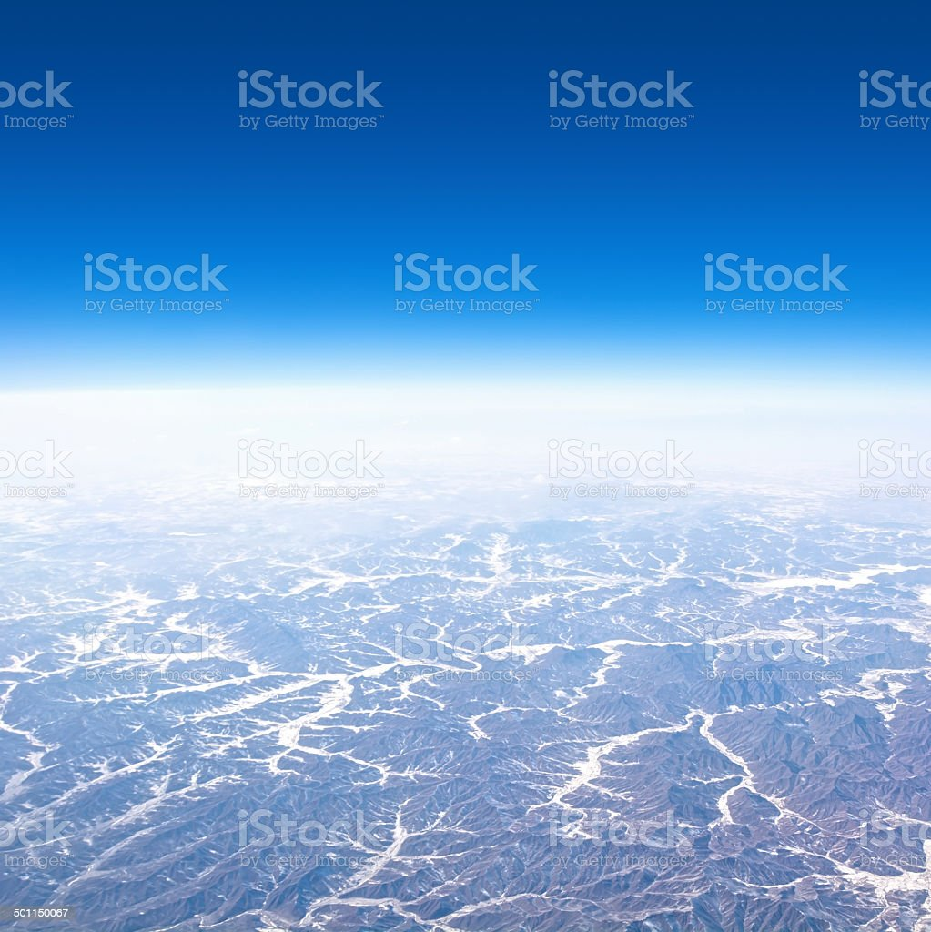 Aerial view of earth stock photo