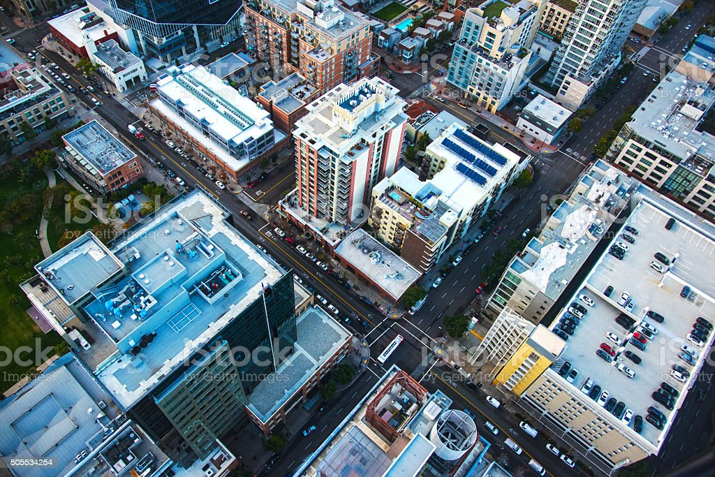 Aerial View of East Village Downtown San Diego stock photo