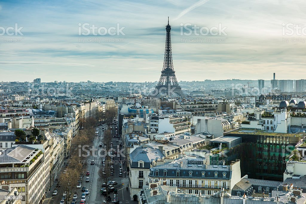 Aerial view of Eiffel Tower, Paris. stock photo