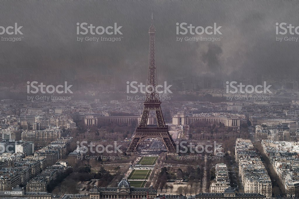 aerial view of eiffel tower stock photo