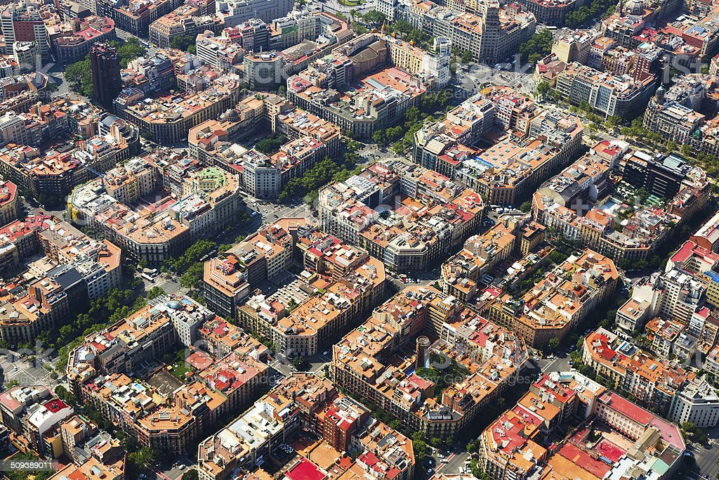 Aerial view  of  Eixample  district. Barcelona,  Spain stock photo