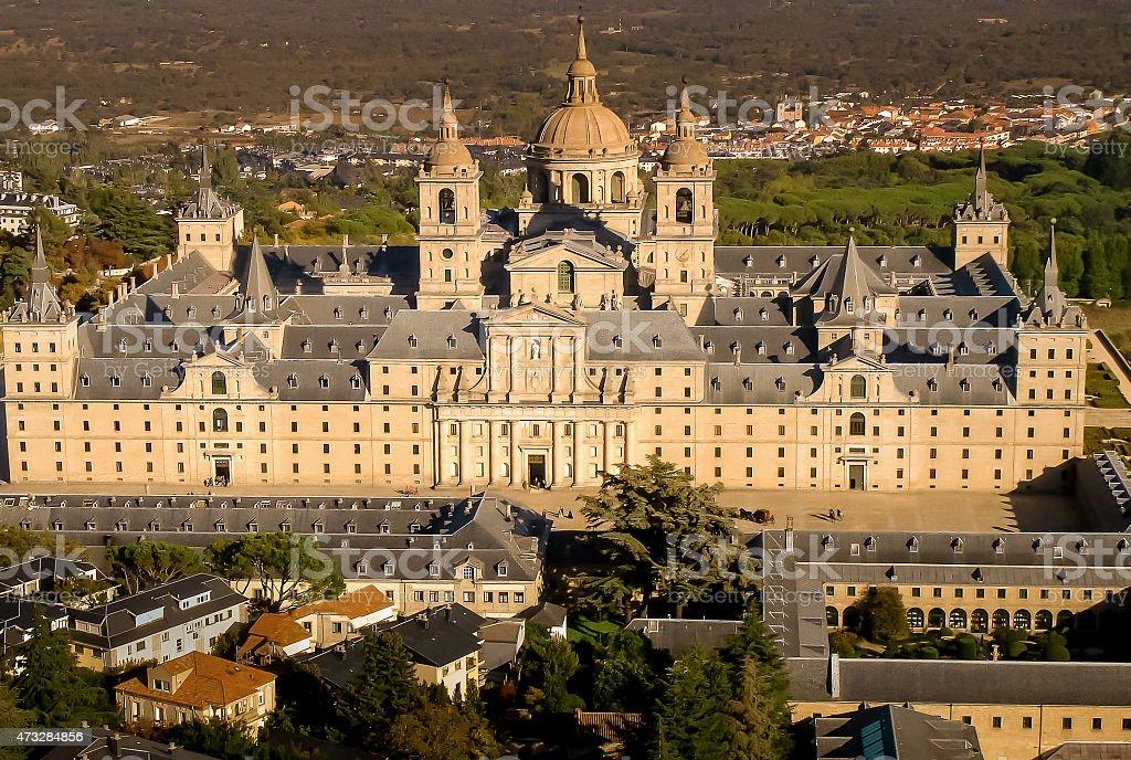 Aerial view of El Escorial stock photo