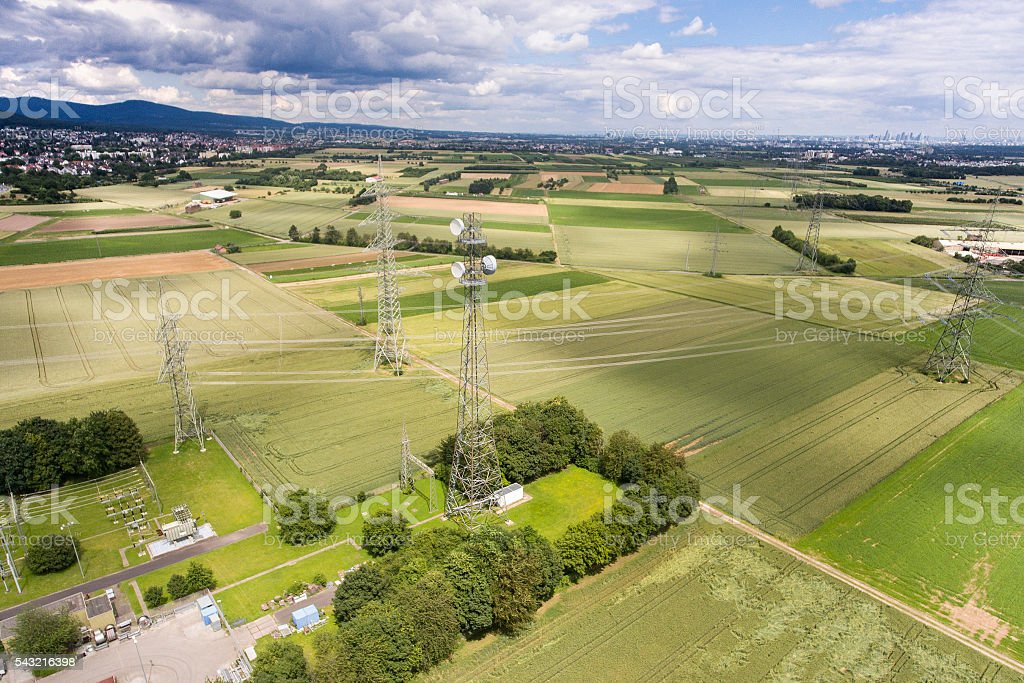 Aerial view of electricity pylons and antenna stock photo