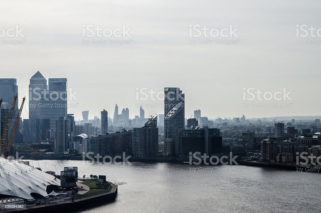 Aerial view of Emirates Greenwich peninsula and downtown stock photo