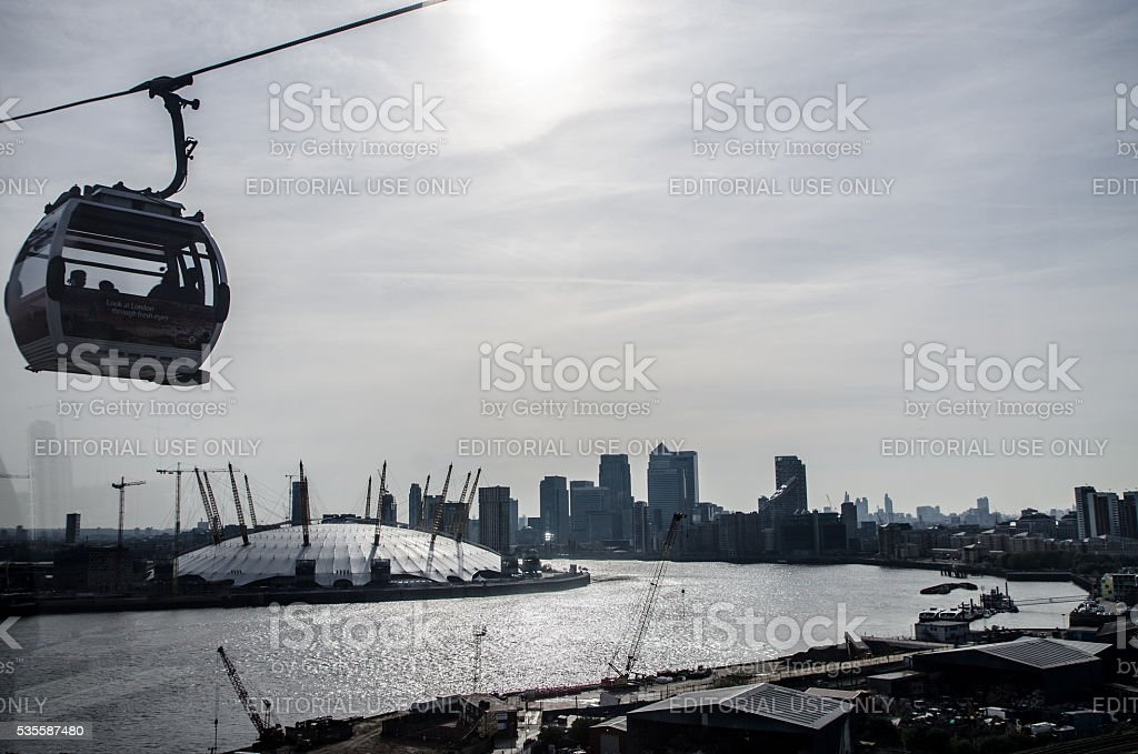 Aerial view of Emirates Greenwich peninsula cable car stock photo