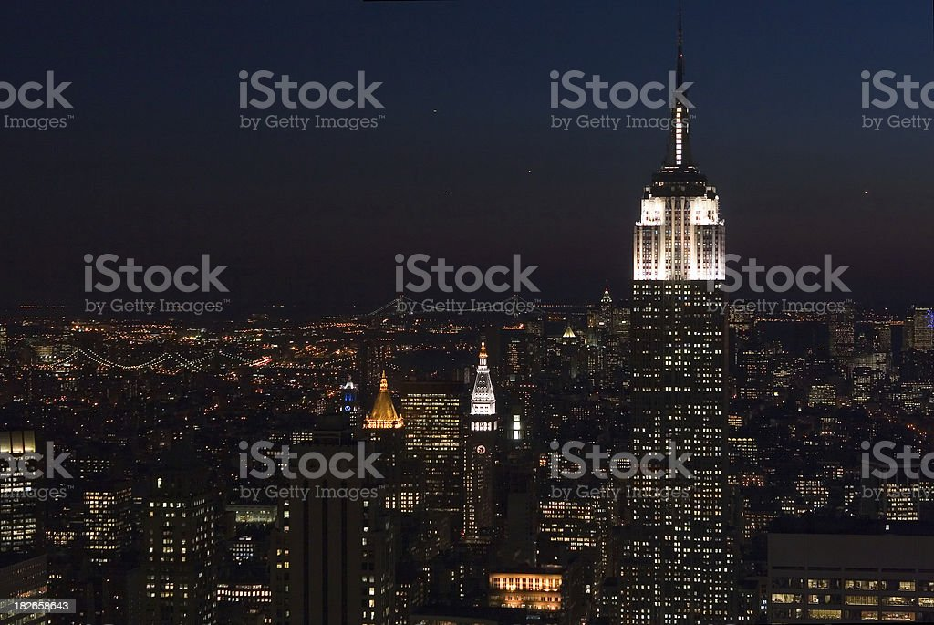 Aerial View of Empire State Building & Lower Manhattan at Night royalty-free stock photo