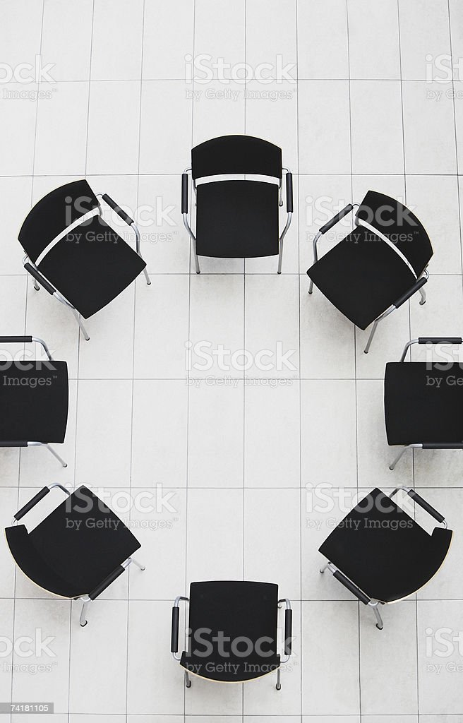 Aerial view of empty chairs in a circle royalty-free stock photo