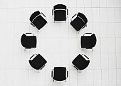 Aerial view of empty chairs in a circle