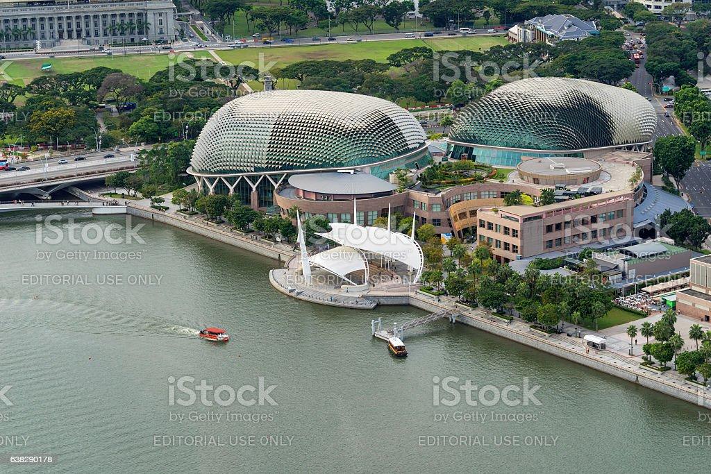 Aerial view of Esplanade theatre at Marina Bay stock photo